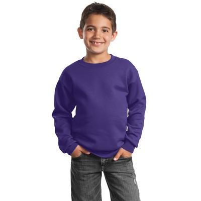 Port & Company PC90Y - Youth Core Fleece Crewneck Sweatshirt in Purple size XL   Cotton/Polyester Blend