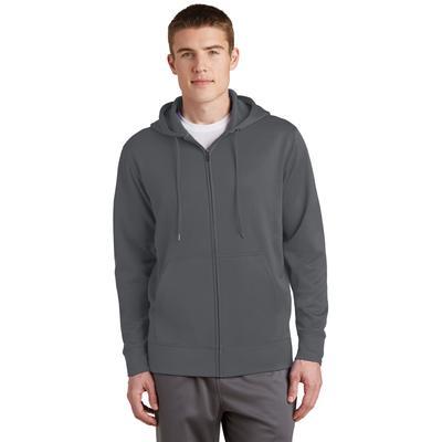 Sport-Tek ST238 Sport-Wick Fleece Full-Zip Hooded Jacket in Dark Smoke Grey size 4XL | Polyester