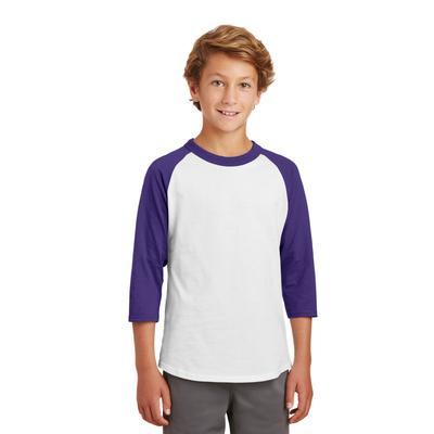 Sport-Tek YT200 Youth Colorblock Raglan Jersey T-Shirt in White/Purple size XS | Cotton