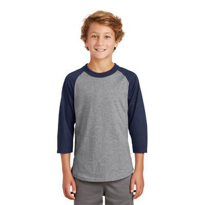Sport-Tek YT200 Youth Colorblock Raglan Jersey T-Shirt in Heather Grey/Navy Blue size Large   Cotton