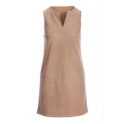 Boston Proper - Faux-Suede Sleeveless Shift Dress - Tan - X Small