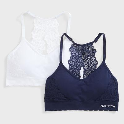 Nautica Women's Embroidered Lace Bra, 2-Pack Navy, L