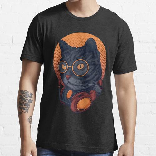 Black Cat Music DJ Headset mit Brille Essential T-Shirt