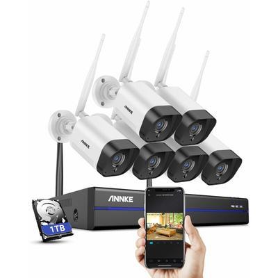 Système de caméra de sécurité IP WiFi 8CH avec 6 caméras de surveillance sans fil intérieures
