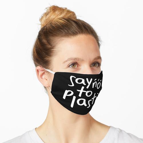Lehnen Sie das Plastikzitat für die Umwelt ab Maske