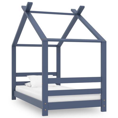 vidaXL Kinder-Bettgestell Grau Massivholz Kiefer 70x140 cm