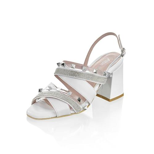 Alba Moda, Sandalette mit Nieten, weiß