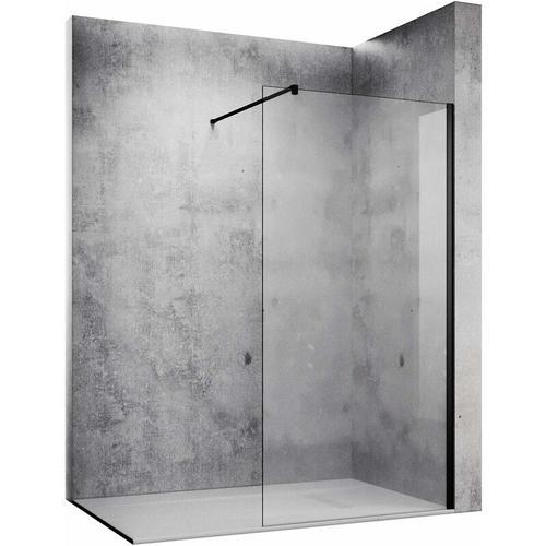 10mm Walk in Dusche Duschwand Duschwände Duschabtrennung Schwarz NANO Echtglas 90x200cm