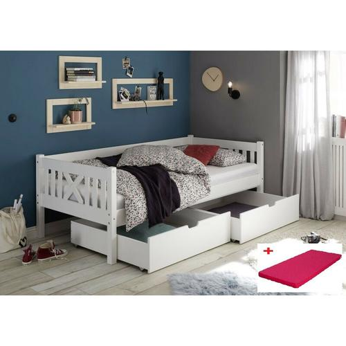 Pfostenbett Trevi 90*200 cm Kiefer massiv weiß Bett mit 2 Bettkästen Matratze (pink)