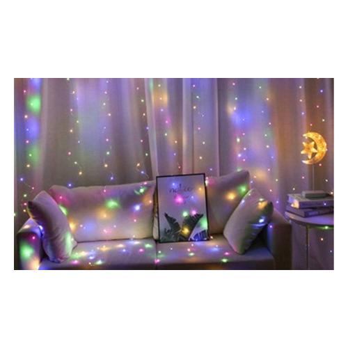 Lichtervorhang für Fenster: 200 lED / 3/ Weißlicht