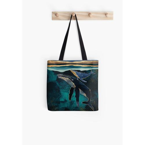Moonlit Whales All Over Print Tote Bag