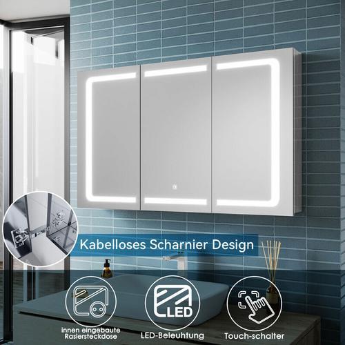 Edelstah LED Spiegelschrank mit Beleuchtung mit Touch Steckdose Badschrank Badspiegel 105x65x13.3cm
