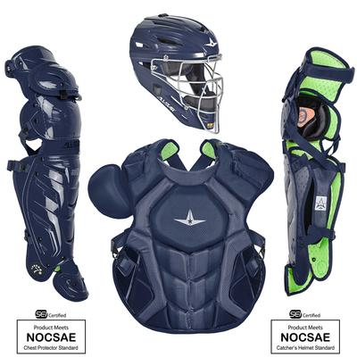 All Star System7 Axis NOCSAE Certified Adult Pro Solid Baseball Catcher's Kit Navy