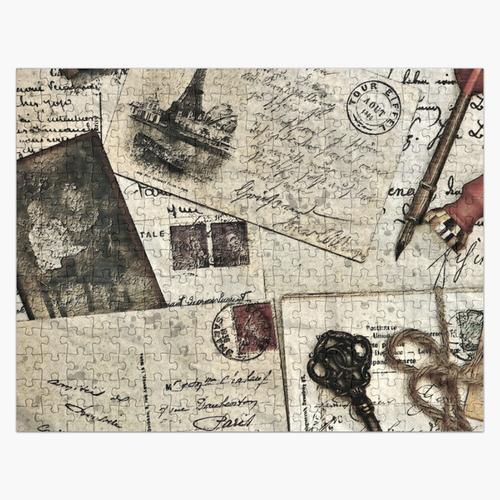 Alte Weinlese-Reise-Postkarten auf Hemden und Hauptdekor Puzzle