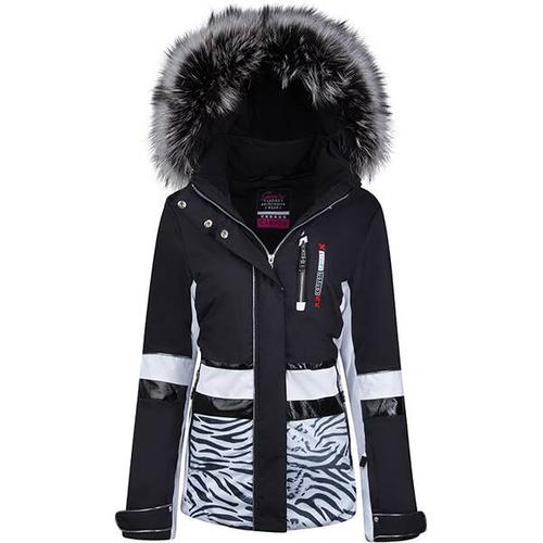 Damen Skijacke mit Echtpelz, Größe 40 in black-white-silver/Tigerdruck