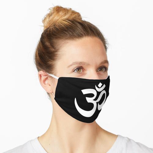 Das Om-Symbol in Devanagari. Weiß auf Schwarz. Maske