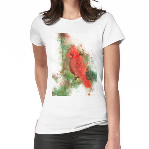 Kardinaler Vogel, Kardinal, roter Kardinal, Aquarell Kardinal Frauen T-Shirt