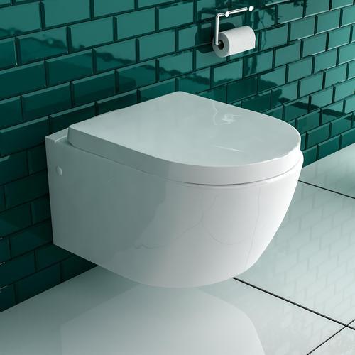 Keramik Hänge WC mit Taharet Bidet Weiß Toilette mit WC-Sitz Soft-Close Dusch-WC