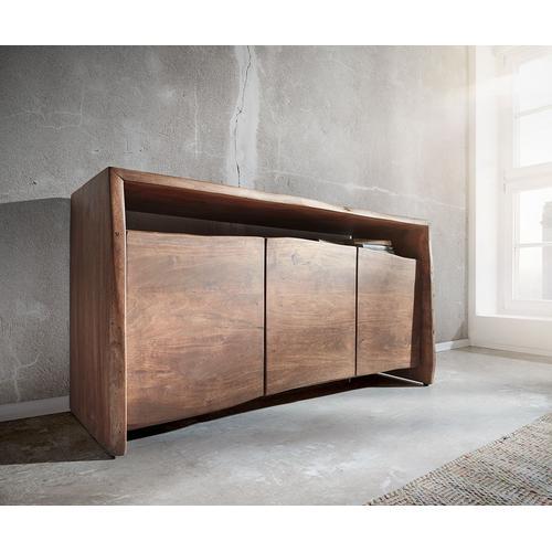 DELIFE Sideboard Live-Edge 145 cm Akazie Braun 3 Türen Baumkante, Sideboards, Baumkantenmöbel, Massivholzmöbel, Massivholz
