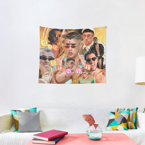 Bad Bunny Gold Tapestry Wall Tapestry