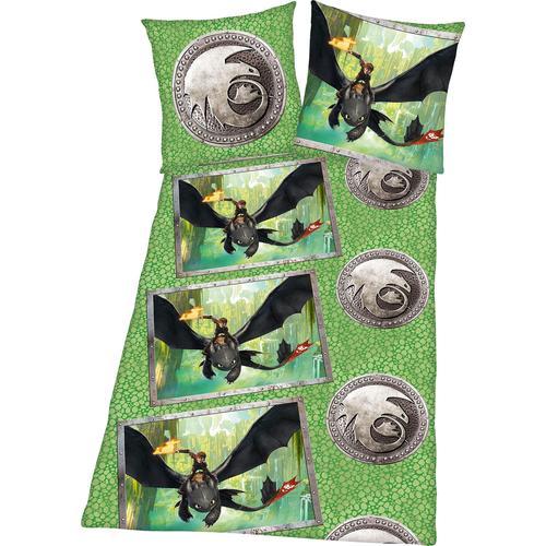 Kinderbettwäsche Dragons, mit tollem Dragons Motiv grün Bettwäsche 135x200 cm nach Größe Bettwäsche, Bettlaken und Betttücher