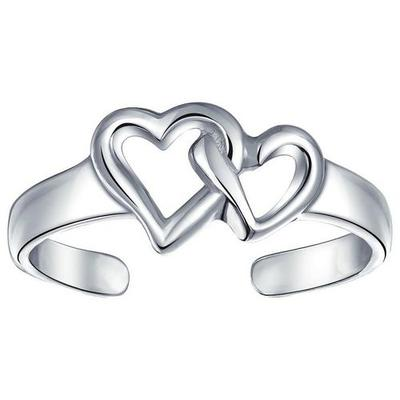 BLING Sterling Silver Interlocking Hearts Toe Ring
