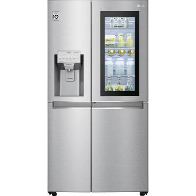 LG Side-by-Side, GSX960NEVZ, 179 cm hoch, 91,2 breit, Door-in-Door F (A bis G) silberfarben Side-by-Side Kühlschränke SOFORT LIEFERBARE Haushaltsgeräte