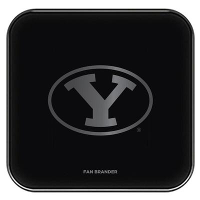 """BYU Cougars Black Fast Charging Glass Wireless Charge Pad"""