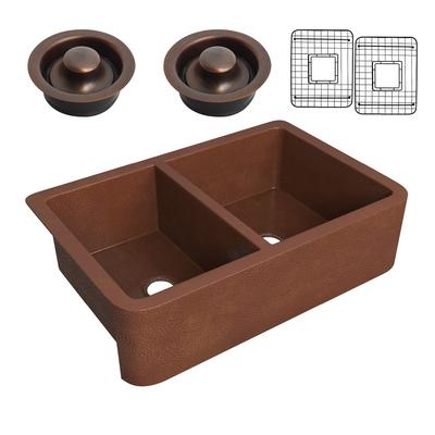 Silesian Farmhouse Handmade Copper 33 in. 50/50 Double Bowl Kitchen Sink with Grape Vine Design in Hammered Antique Copper - ANZII SK-009