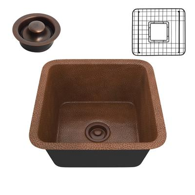 Illyrian Drop-in Handmade Copper 16 in. 0-Hole Single Bowl Kitchen Sink in Hammered Antique Copper - ANZII SK-001