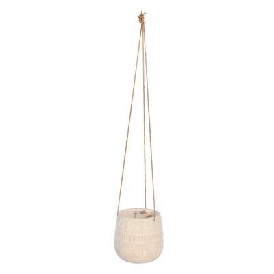 """Ceramic 6"""" Abstract Hanging Planter, Beige - Sagebrook Home 14801-04"""