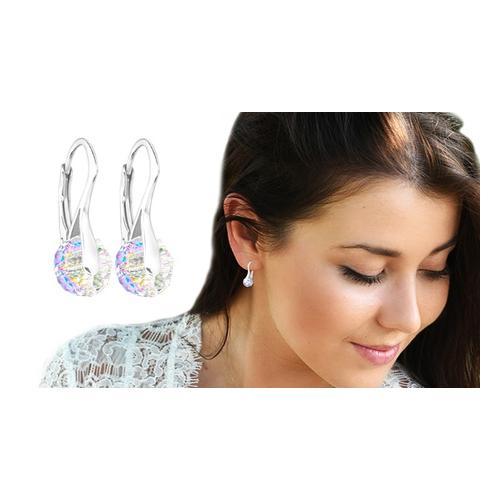Ah! Jewellery Ohrringe mit Swarovski®-Kristallen: 2 Paar/Aurore Boreale + Violet