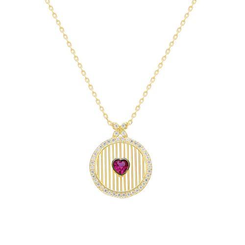 Silberkette Runde Kette mit rotem Herz Dkeniz gold
