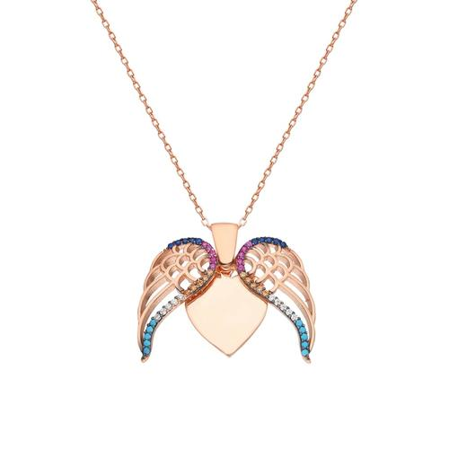 Silberkette Aufklappbare Gravur Flügel Kette Dkeniz rose