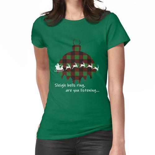 Schlitten Glocken Ring Santa Schlitten Plaid Ornament Frauen T-Shirt