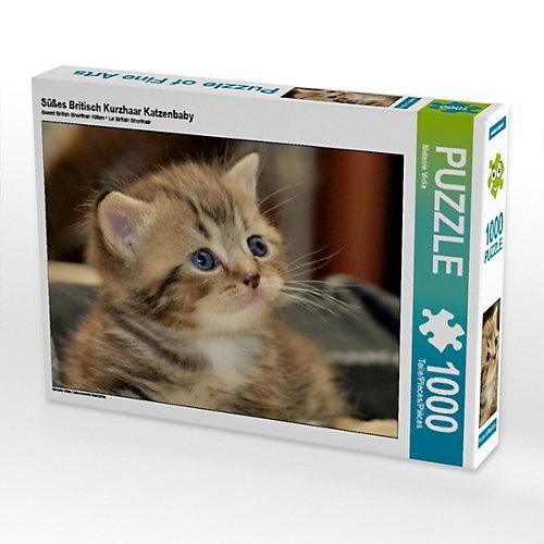Süßes Britisch Kurzhaar Katzenbaby Foto-Puzzle Bild von Melanie Viola Puzzle