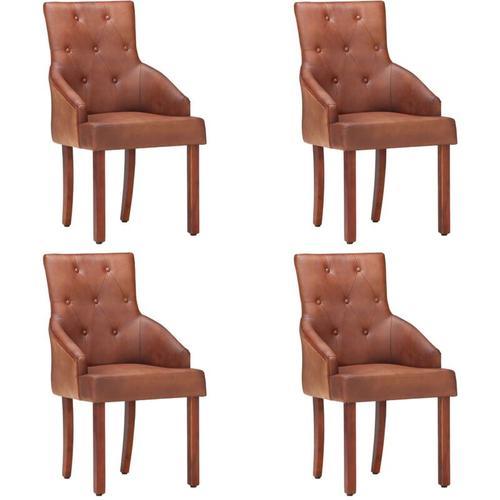 Esszimmerstühle 4 Stk. Braun Echtes Ziegenleder