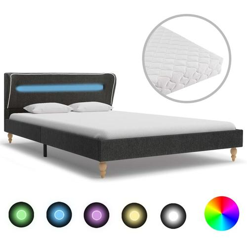 Bett mit LED und Matratze Dunkelgrau Sackleinen 120 x 200 cm - Hommoo
