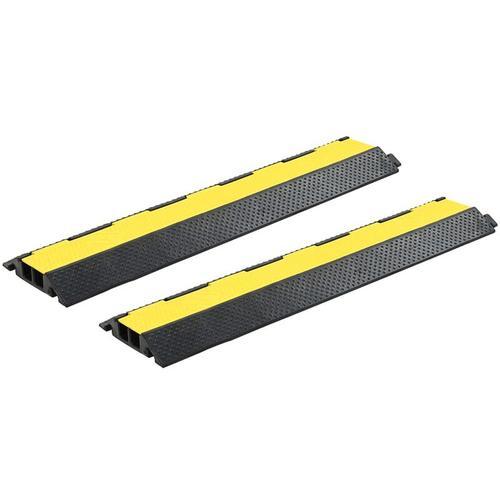 Kabelbrücken Überfahrschutz 2 Stk. 2 Kanäle Gummi 101,5 cm