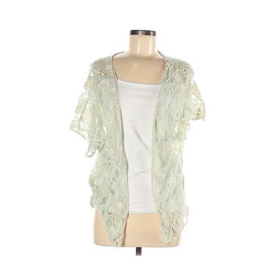Blue Bird Kimono: Green Solid Tops - Size Medium