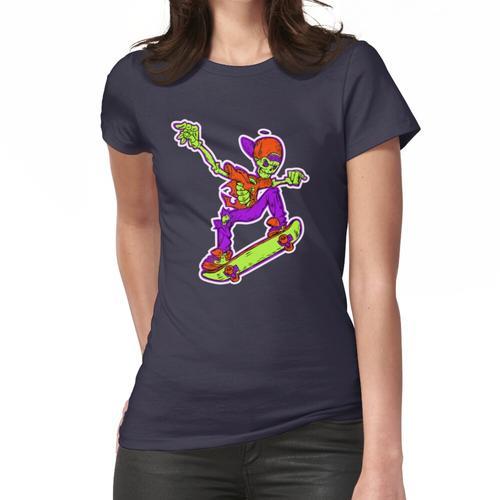 Skate Skateboard Skateboarding Skeleton Cartoon Frauen T-Shirt