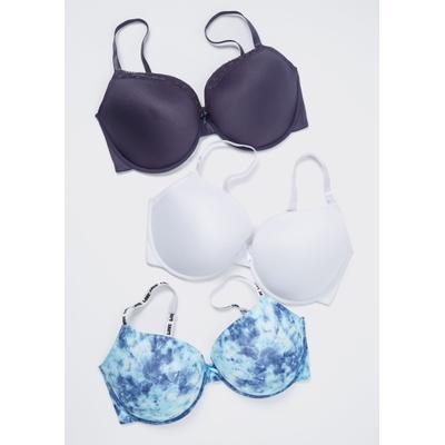 Rue21 Womens Plus Size 3-Pack Blue Tie Dye Lace T-Shirt Bras - Size 40D