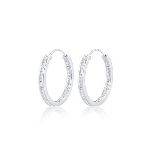 Elli Paar Creolen »Creolen Kristalle Rund 925 Silber«