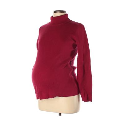 Motherhood Long Sleeve Top Red Solid Turtleneck Tops - Used - Size Large Maternity