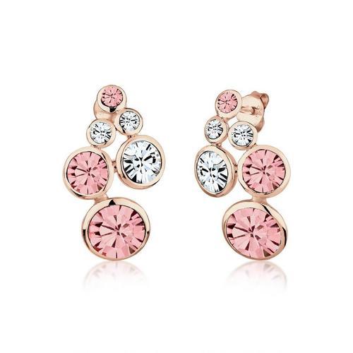 Elli Paar Ohrstecker »Ohrstecker Kristalle Glamour rosegold«