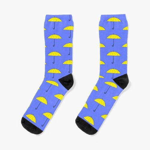 gelber Regenschirm Socken