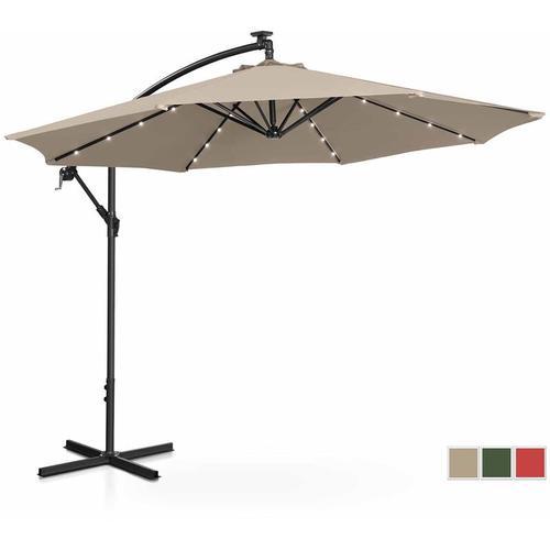 Sonnenschirm Ampelschirm mit LED UNI_UMBRELLA_R300CRL Gartenschirm (rund, Ø 300 cm, neigbar, creme)