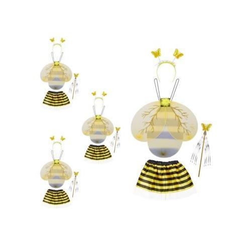 4 x Bienenkostüm Kinder, Bienchen Kinderkostüm, Hummelkostüm Bienenflügel Kostüm schwarz/gelb