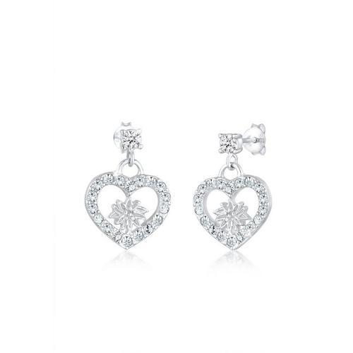 Elli Paar Ohrhänger »Edelweiss Herz Kristalle 925 Silber«