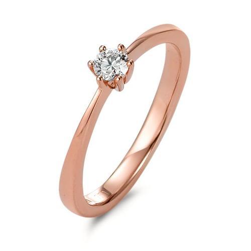 Solitär Ring 750/18 K Rotgold Diamant 0.15 ct